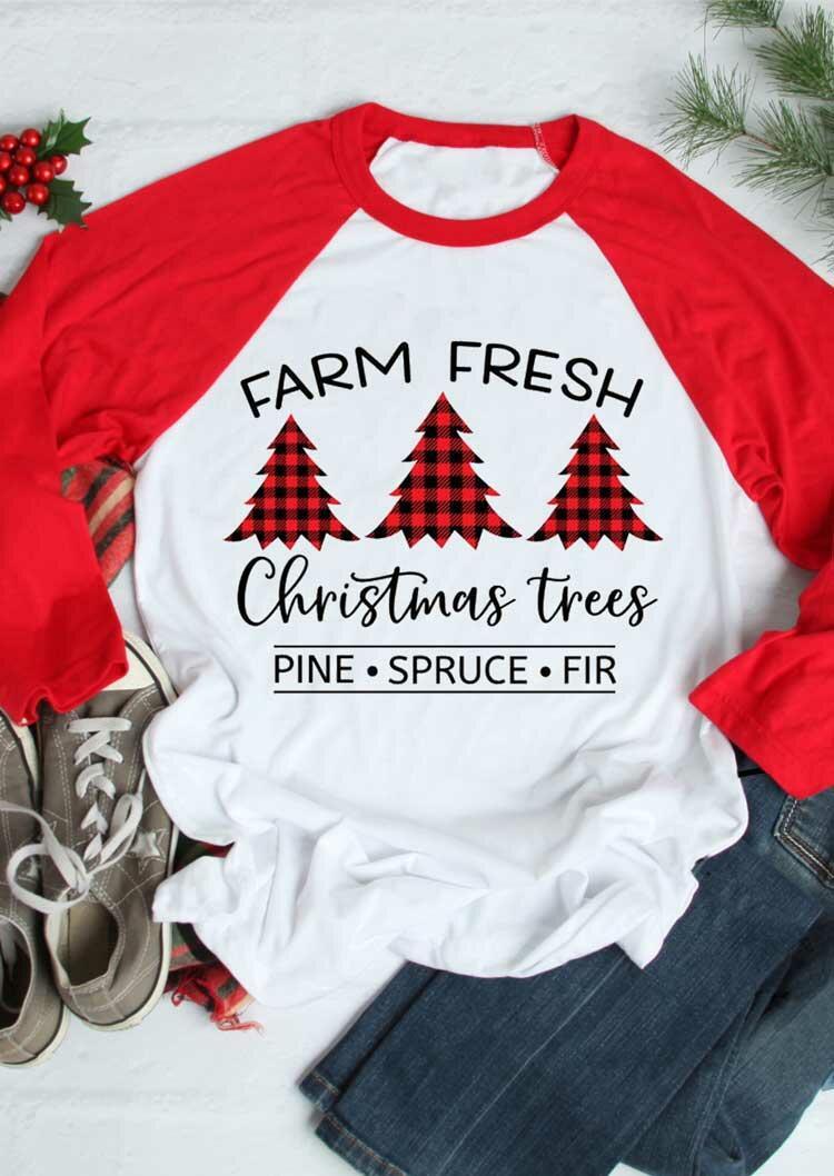 Farm Fresh Christmas Trees Buffalo Plaid T-Shirt Tee - White