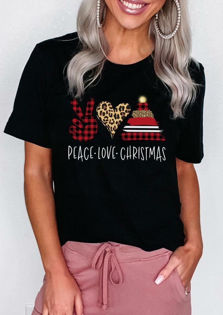 Peace Love Christmas Leopard Buffalo Plaid T-Shirt Tee - Black