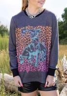 Leopard Cowboy Elastic Cuff Pullover Sweatshirt