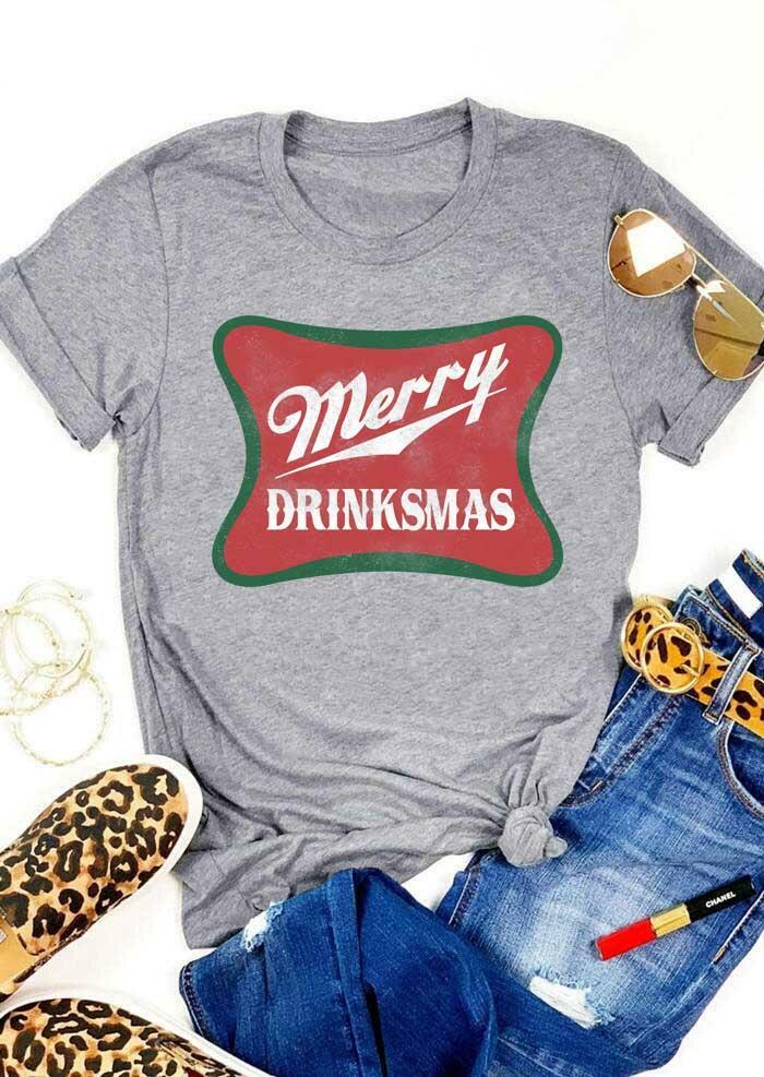 Merry Drinksmas O-Neck T-Shirt Tee - Gray