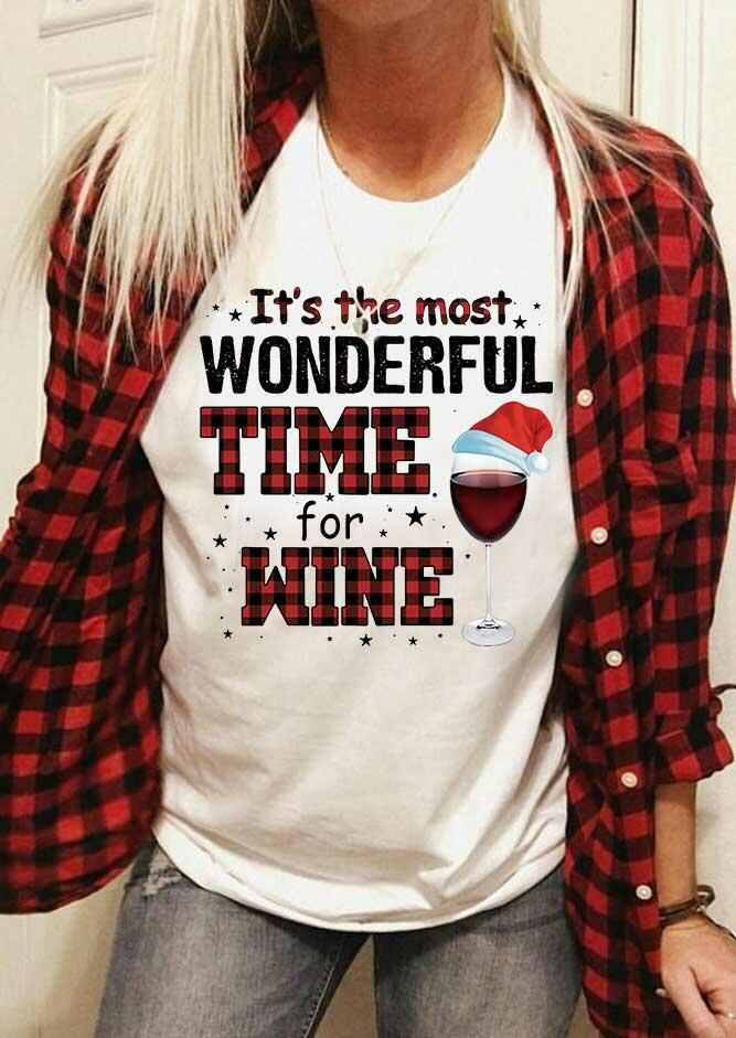 Christmas Hat It's The Most Wonderful Time For Wine T-Shirt Tee - White