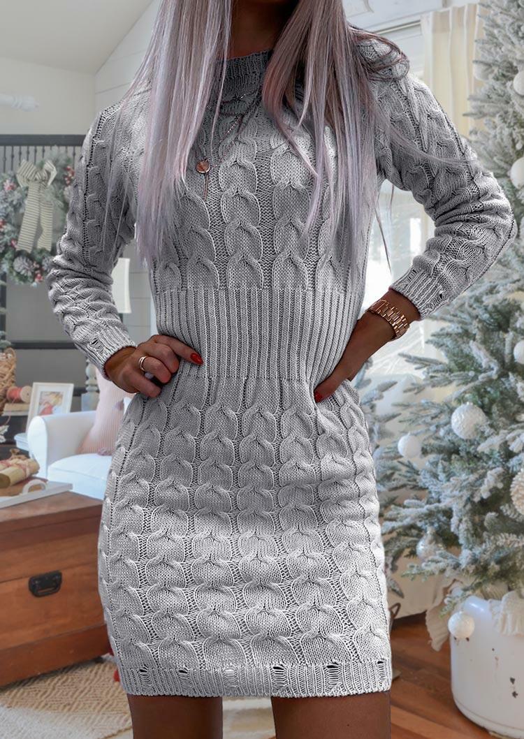 Crochet Knitted O-Neck Long Sleeve Mini Dress - Gray