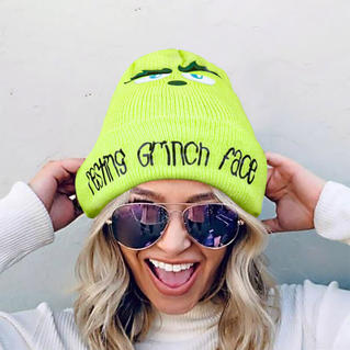 Christmas Resting Grinch Face Knitted Hat