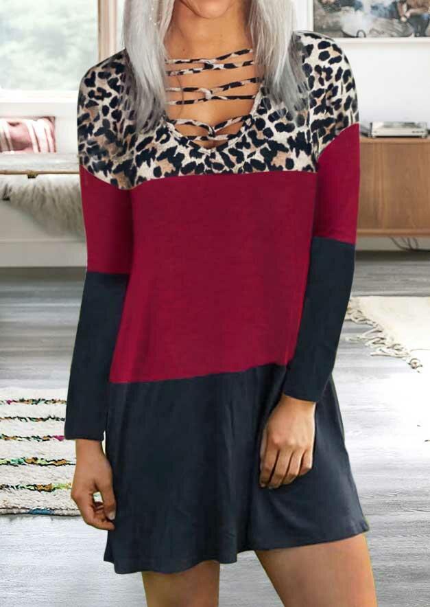 Leopard Color Block Criss-Cross Casual Mini Dress