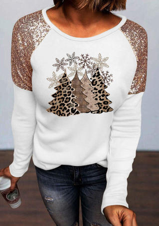 Leopard Christmas Tree Snowflake Sequined Splicing Blouse - White