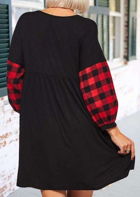 Buffalo Plaid Splicing Sleeve Ruffled Mini Dress - Black