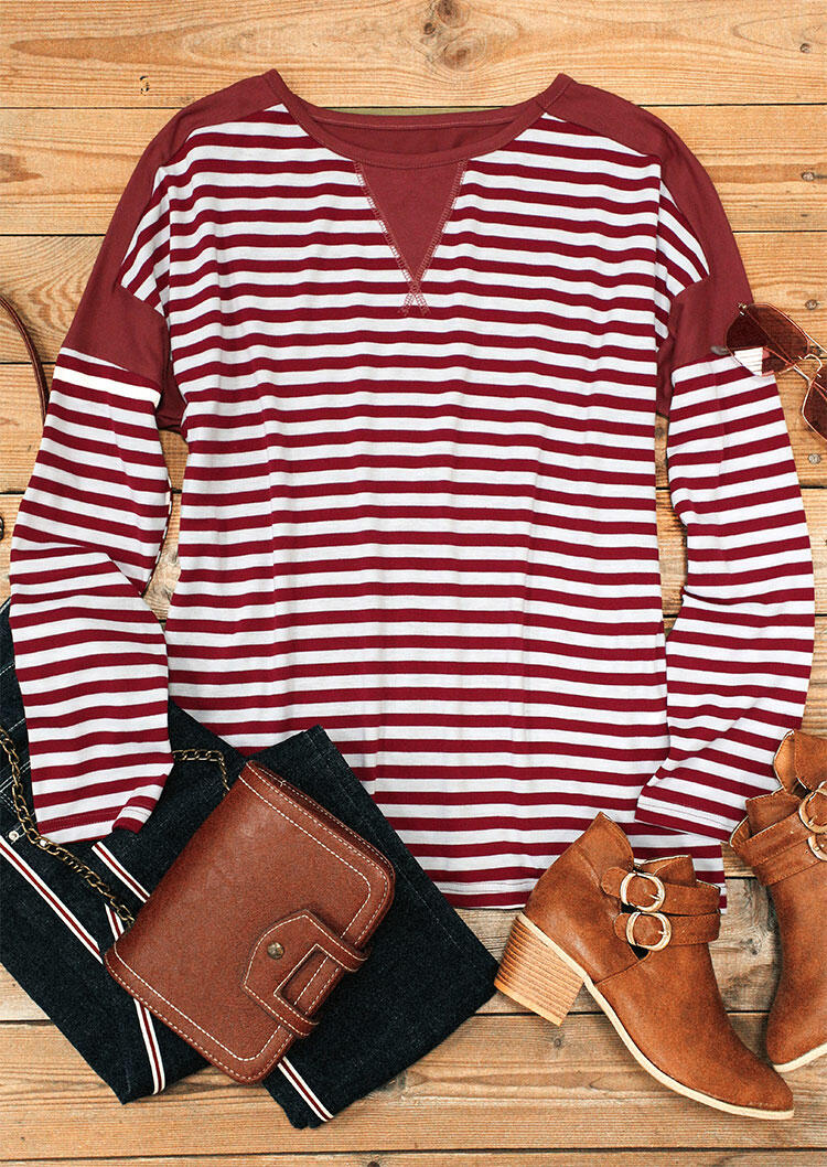 Striped Splicing Long Sleeve Blouse - Red