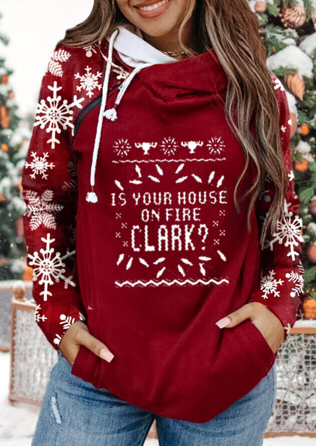 Snowflake Zipper Drawstring Pocket Letter Sweatshirt - Red