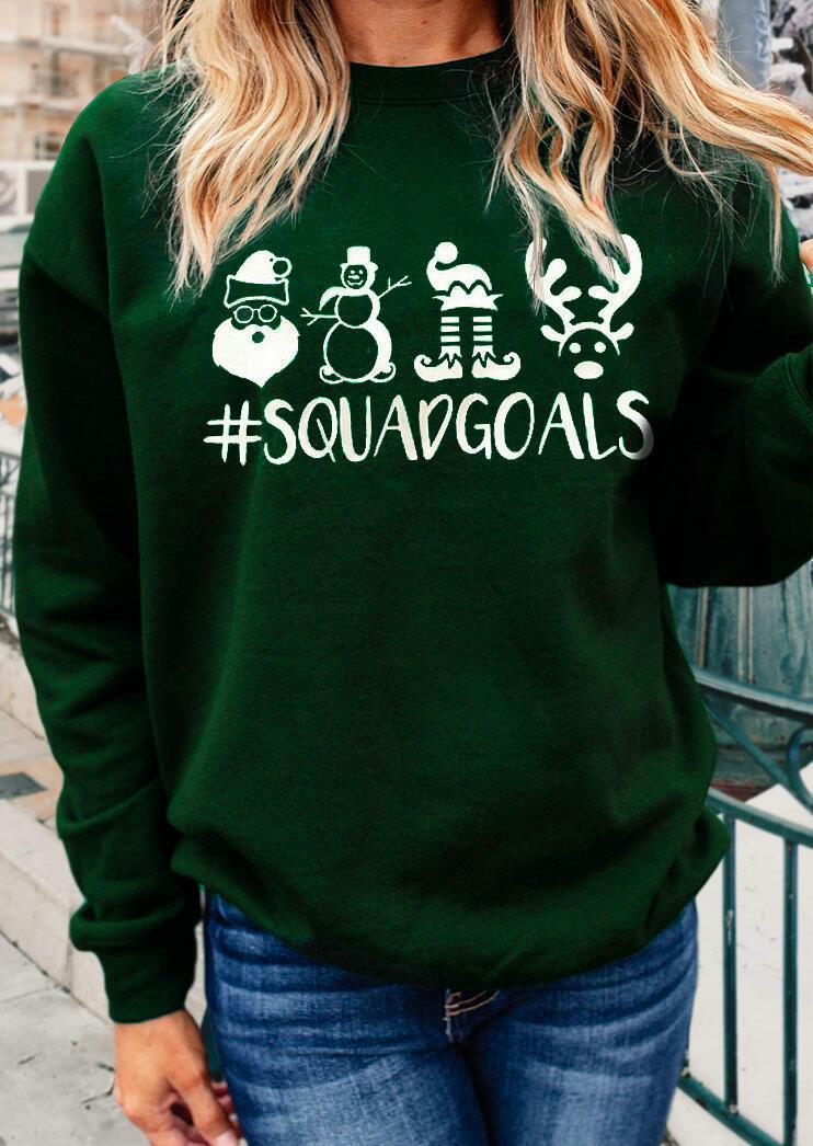 Christmas Santa Reindeer Squadgoals Pullover Sweatshirt - Dark Green