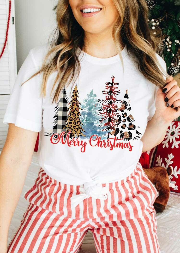 Merry Christmas Tree Plaid Leopard T-Shirt Tee - White