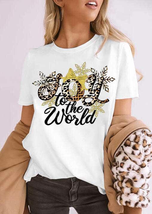 Joy to the world Leopard Snowflake T-Shirt Tee - White