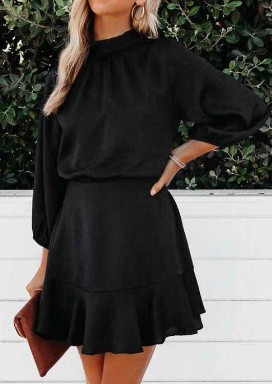 Ruffled ElasticCuff Tie O-Neck Mini Dress - Black