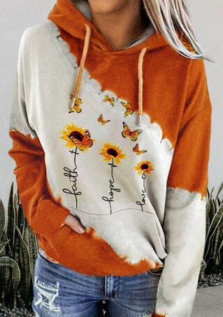 Faith Hope Love Sunflower Kangaroo Pocket Drawstring Hoodie - Orange