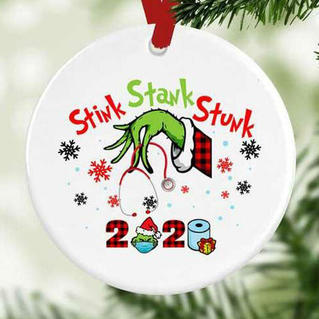 Grinch Hand Stink Stank Stunk Plaid Christmas Tree Hanging Ornament