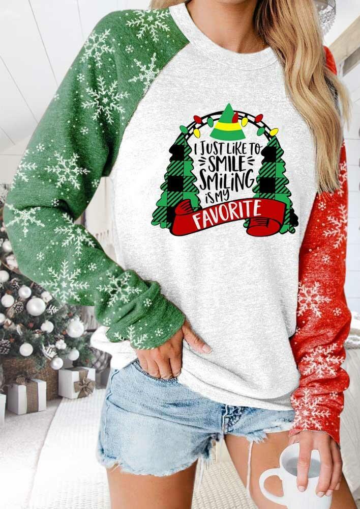 Plaid Christmas Tree Snowflake I Just Like To Smile Sweatshirt - White