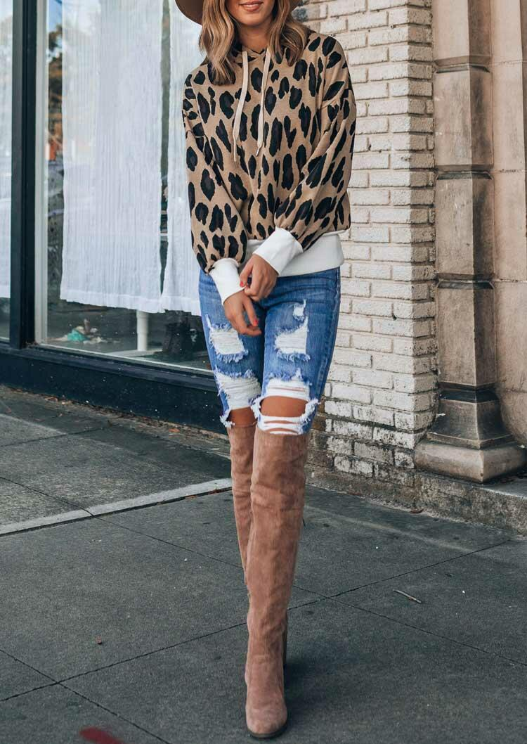 Leopard Splicing Drawstring Long Sleeve Pullover Hoodie