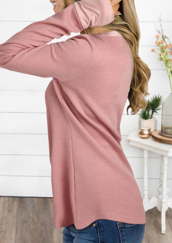 Button Thumbhole Long Sleeve O-Neck Blouse - Pink