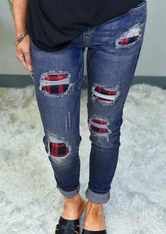 Ripped Hole Buffalo Plaid Patch Distressed Denim Jeans - Blue