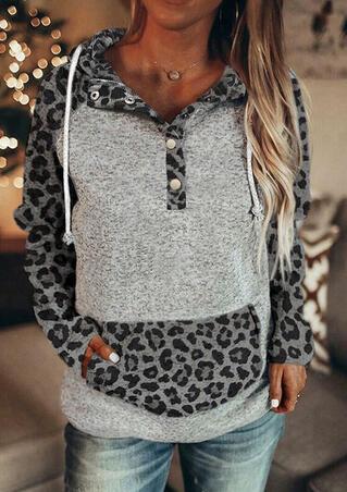 Leopard Kangaroo Pocket Snap Button Drawstring Pullover Hoodie - Gray