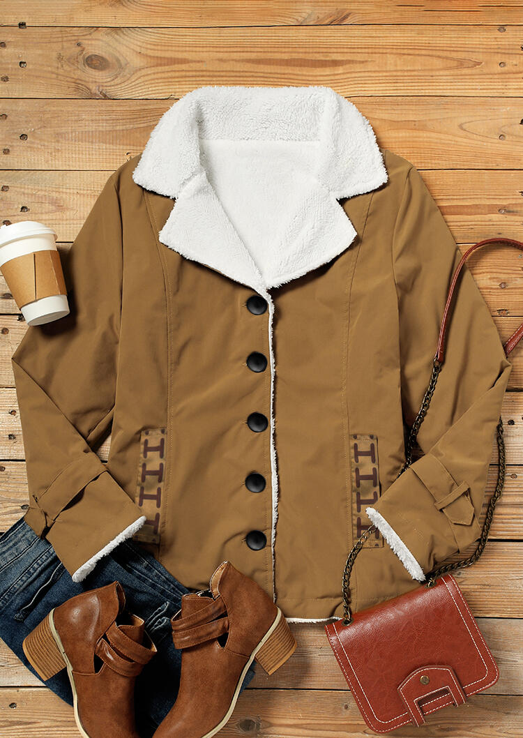 Button Pocket Warm Thickened Plush Coat - Khaki