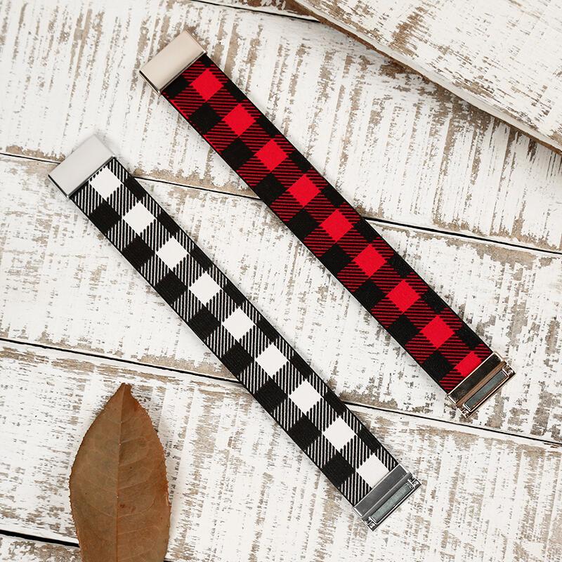 Buffalo Plaid Magnetic Buckle PU Leather Bracelet