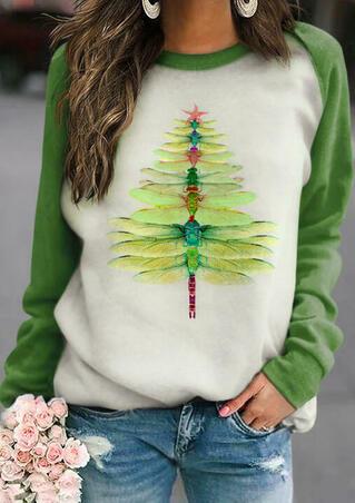 Christmas Tree Dragonfly Raglan Sleeve Blouse - Green