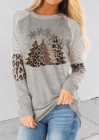 Leopard Christmas Tree Snowflake Striped Blouse - Light Grey