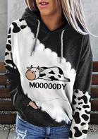 Mooooody Cow Kangaroo Pocket Drawstring Hoodie - Dark Grey