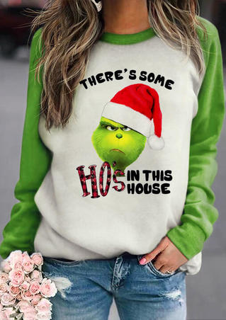 Christmas There's Some Ho's In This House Grinch Plaid Sweatshirt - Green