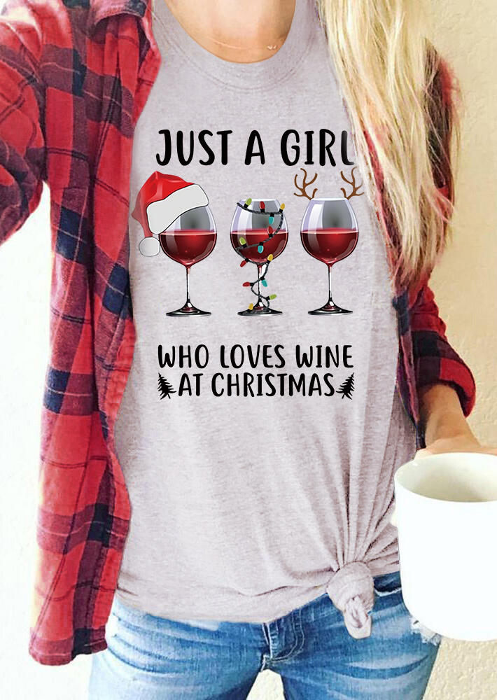 Just A Girl Who Loves Wine At Christmas T-Shirt Tee - Light Grey