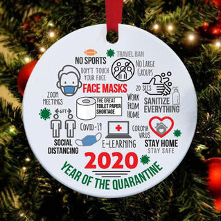 2020 Year Of The Quarantine Christmas Tree Hanging Ornament - White