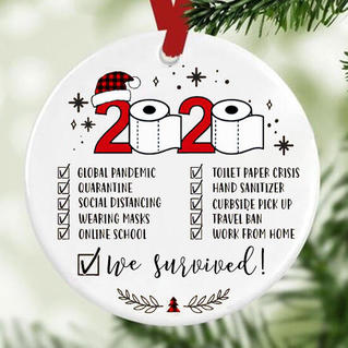2020 We Survived Plaid Christmas Tree Hanging Ornament