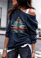 Dragonfly O-Neck Pullover Sweatshirt - Navy Blue