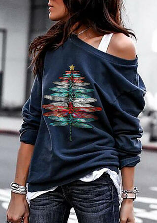 Christmas Tree Dragonfly O-Neck Pullover Sweatshirt - Navy Blue