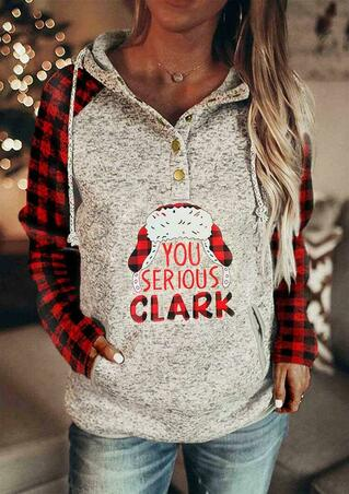 Christmas Plaid Splicing You Serious Clark Drawstring Snap Button Hoodie