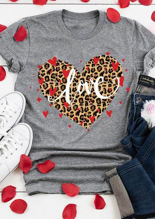 Leopard Heart Love T-Shirt Tee - Gray