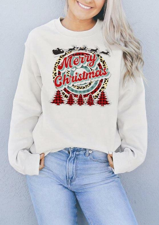 Merry Christmas Leopard Buffalo Plaid Tree Sweatshirt - White