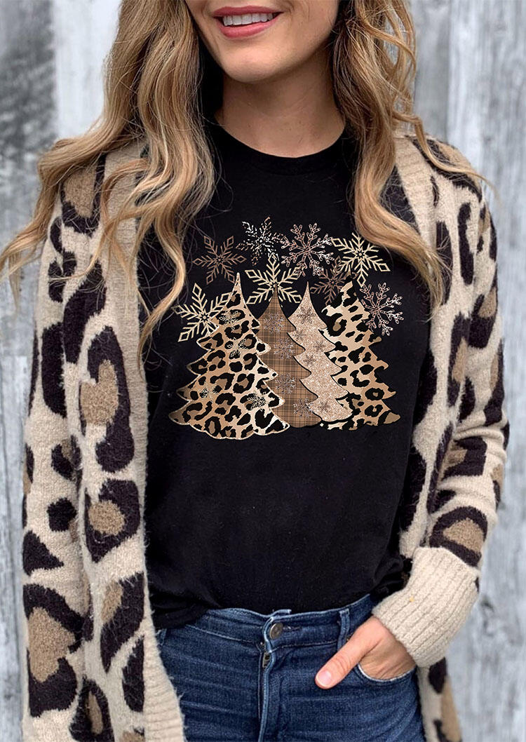 Leopard Christmas Tree Snowflake Merry And Bright T-Shirt Tee - Black