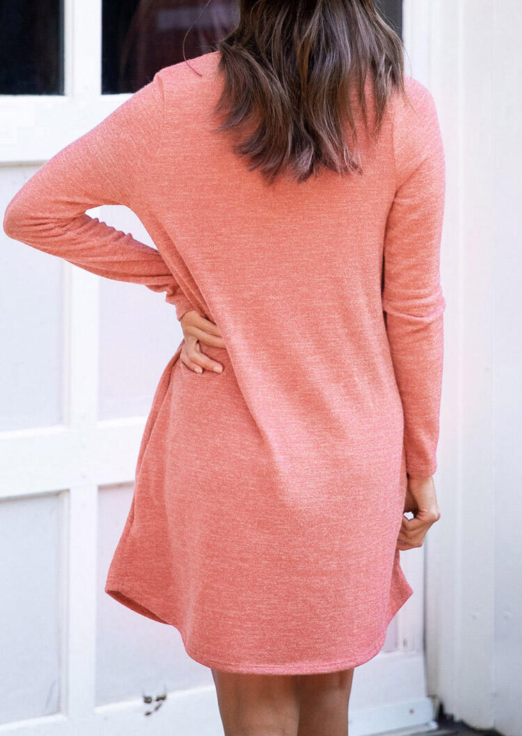 Pocket Button Long Sleeve V-Neck Mini Dress - Watermelon Red