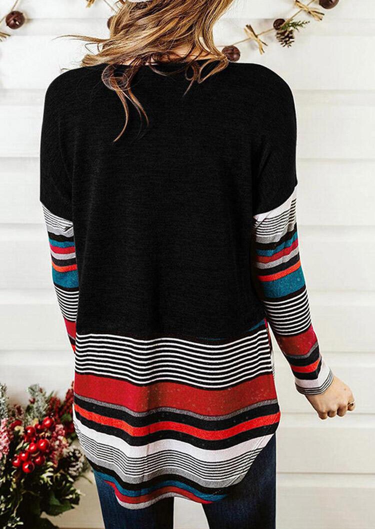 Colorful Striped Drop Shoulder Blouse - Black