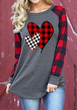 Plaid Splicing Heart Long Sleeve T-Shirt Tee
