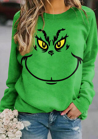 Christmas Grinch Face Pullover Sweatshirt - Green