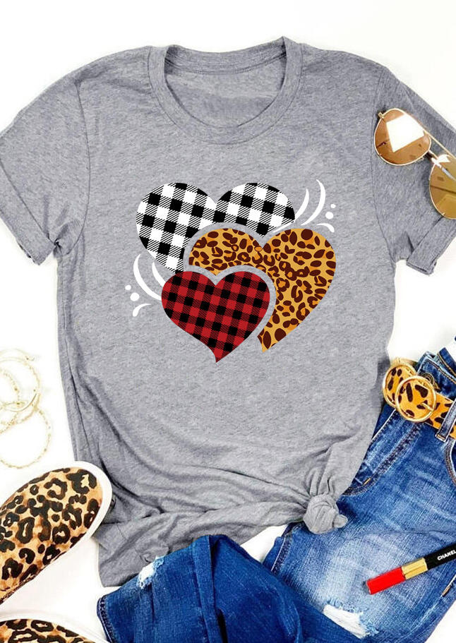 Leopard Plaid Heart T-Shirt Tee - Gray