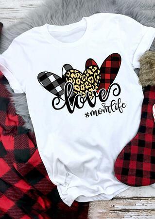 Love Mom Life Leopard Plaid Heart T-Shirt Tee - White