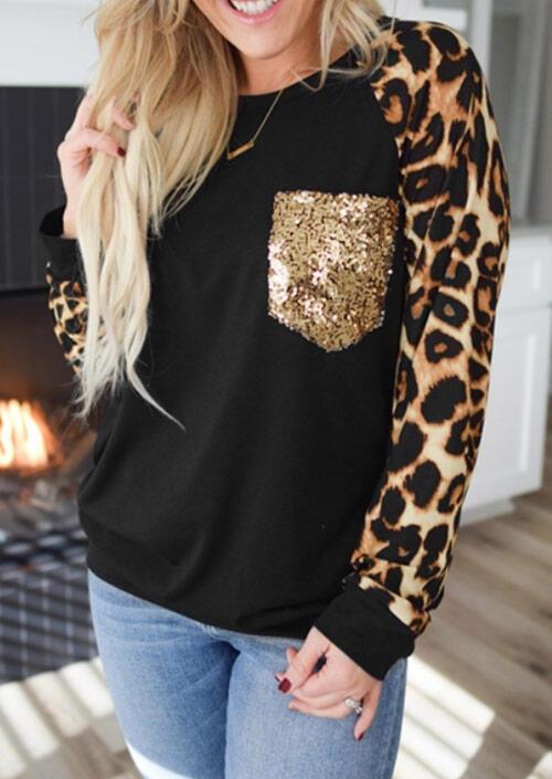 Sequined Pocket Leopard Splicing Long Sleeve Blouse - Black