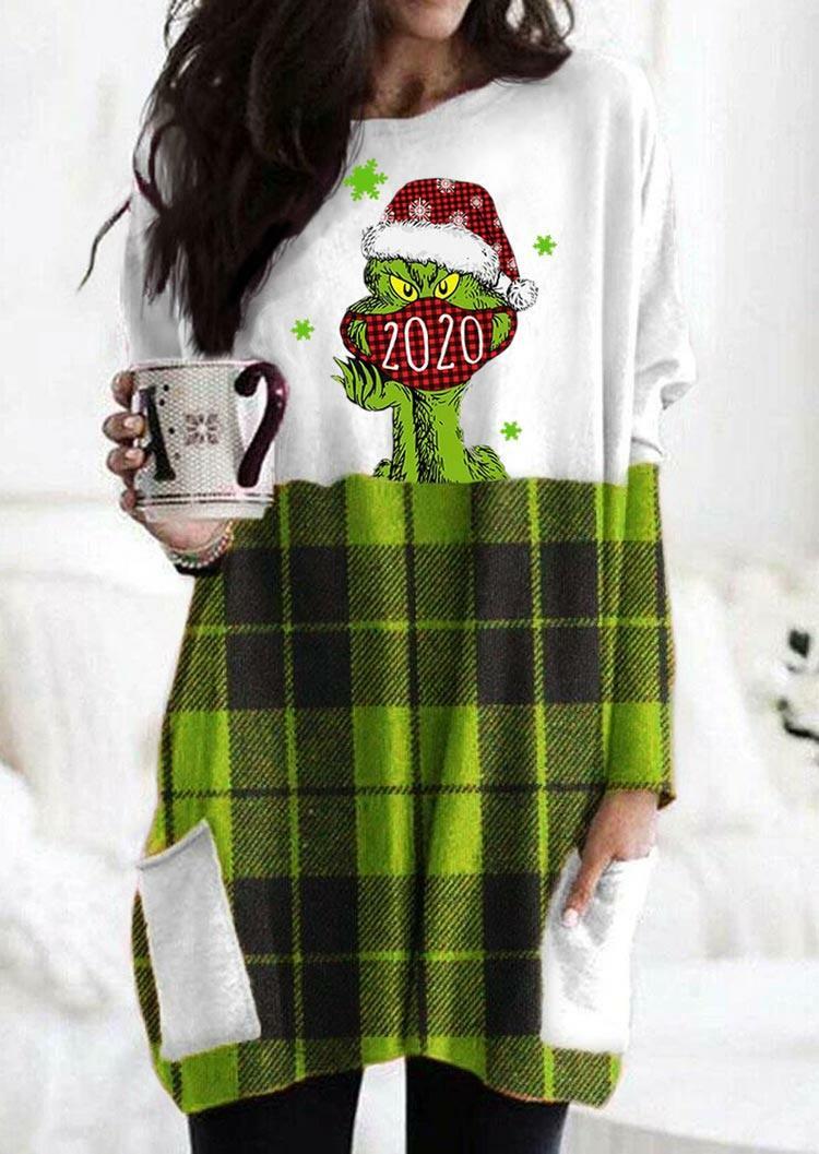 Christmas Grinch 2020 Plaid Pocket Mini Dress