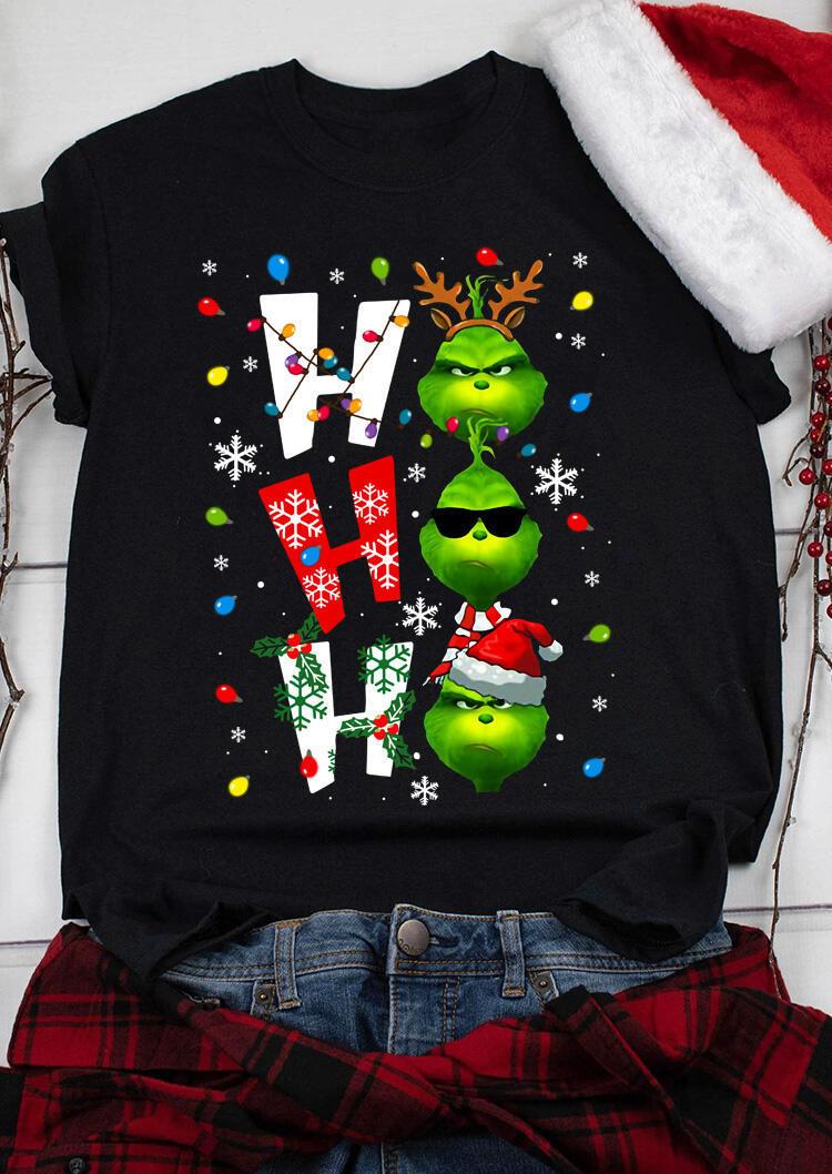 Christmas Ho Ho Ho Snowflake T-Shirt Tee - Black