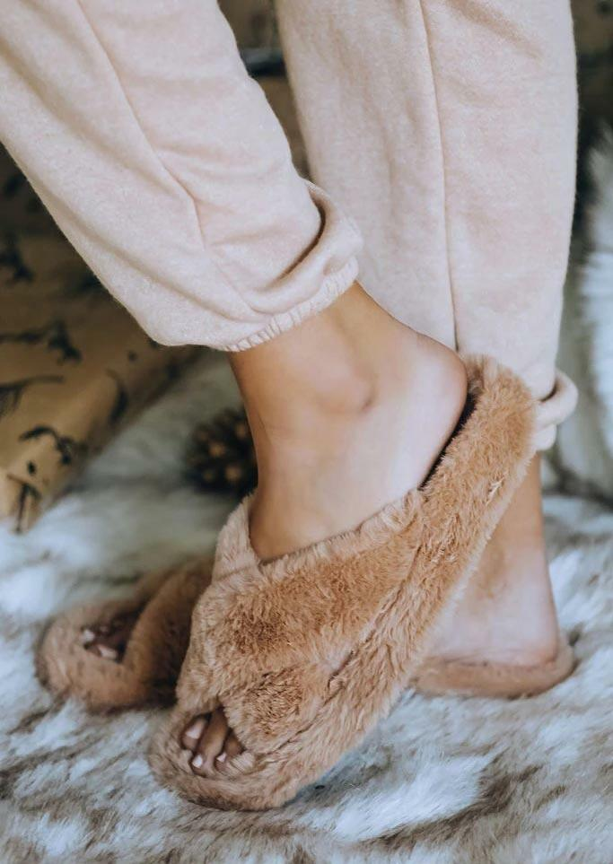 Cross Warm Plush Indoor Slippers - Khaki