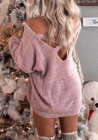 Criss-Cross Open Back Knitted Mini Dress - Pink