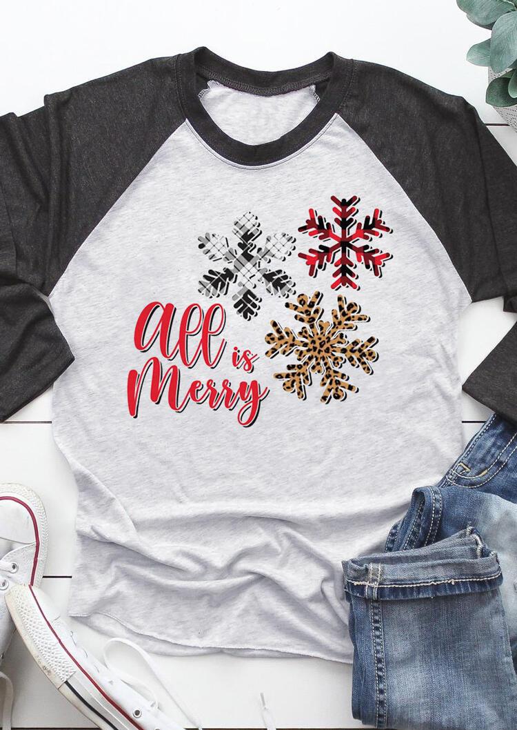 Christmas All Is Merry Leopard Snowflake T-Shirt Tee - Dark Grey